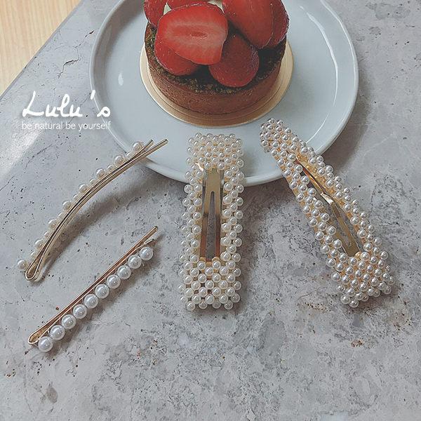 LULUS-特N長方珍珠髮夾-白 現+預【08190002】