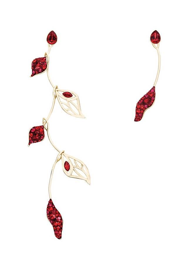 Atelier Swarovski Graceful Bloom紅色水晶花瓣造型耳環(互聯網)