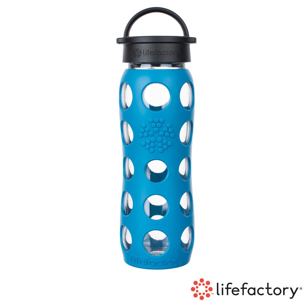 【Lifefactory】玻璃水瓶平口650ml-藍