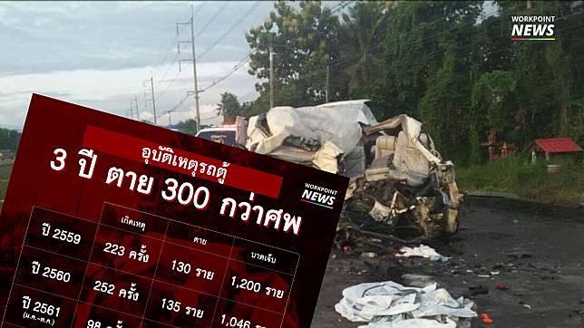 ย้อนดูสถิติรถตู้ 3 ปี เกิดเหตุมากกว่า 500 ครั้ง ตายกว่า 300 ศพ