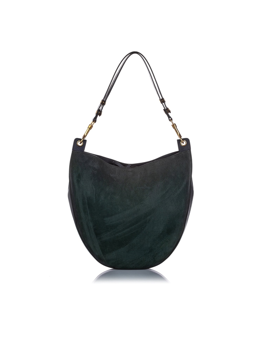 Product Details: Green Celine Nubuck Leather Hobo Bag. This Hobo features a nubuck leather body, a f