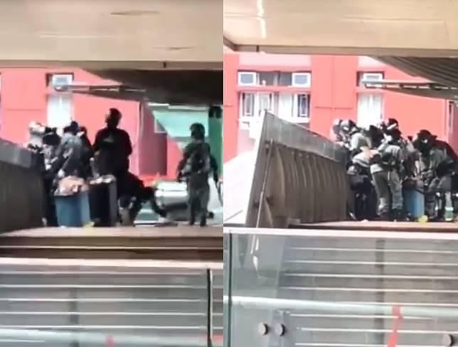 網傳警員橋上掟磚。影片截圖