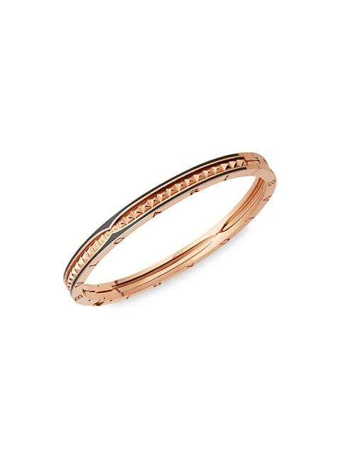 From the B.zero1 Collection. Dazzling bangle bracelet in 18K rose gold with studs and black ceramic.