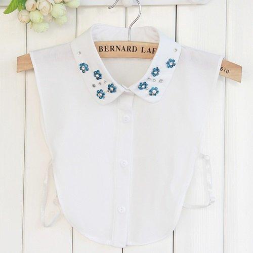 【米蘭精品】假領子襯衫領片-水鑽小花雪紡精緻女裝配件2色73vk48