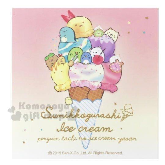〔小禮堂〕角落生物 迷你方形便條本《粉黃.冰淇淋》便條紙.留言紙 4714551-87469