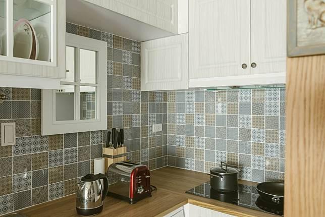 復古磚搭配的美式廚房