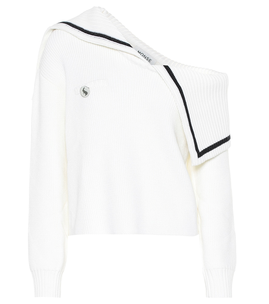 Monse applies its signature quirk to a classic sweater, crafting this white design with a one-should