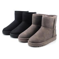 cher美鞋 經典素面雪靴-黑/卡其-0710160306-03