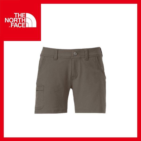 【The North Face 女 抗UV彈性短褲《灰咖啡》】CFW8/五分褲/防曬/排汗褲/UPF50+