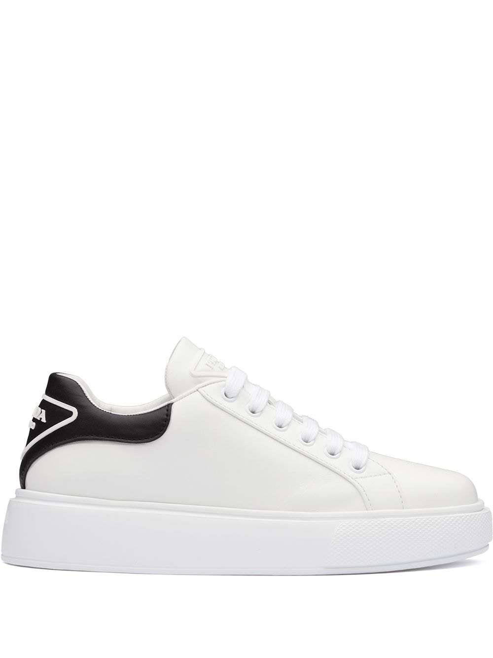 White calf leather contrast-heel low-top sneakers from PRADA featuring branded heel counter, logo-em