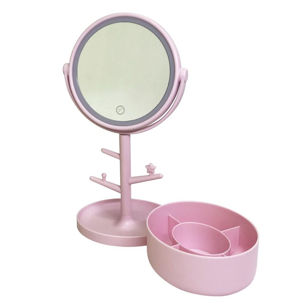 LED桌上化妝鏡推薦5. 金德恩 圓形樹枝造型LED觸控式美光化妝鏡收納組