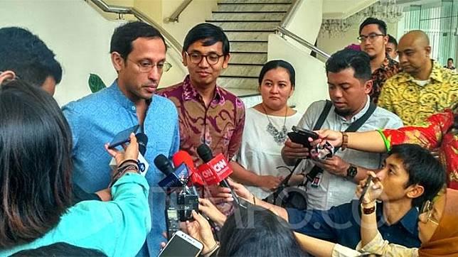CEO Go-Jek Nadiem Makarim saat menyambangi Kantor Wakil Presiden Jusuf Kalla, di Jalan Medan Merdeka Utara, Jakarta Pusat, Selasa, 16 Juli 2019. TEMPO/Egi Adyatama