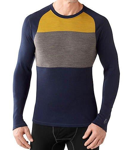 Smartwool/排汗衣/保暖/內搭衣/出國/旅遊/背包客/滑雪/聰明羊/美麗諾羊毛 圓領毛衣 SS657-092 藍黃色塊 男