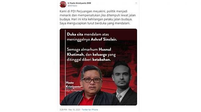 Hasto Kristiyant kirim ucapan duka cita untuk Ashraf Sinclair (twitter/@66Hasto)