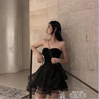 撲啦啦韓風高腰半身短裙百搭顯瘦網紗裙子夏季蓬蓬裙性感抹胸上衣 韓流時裳