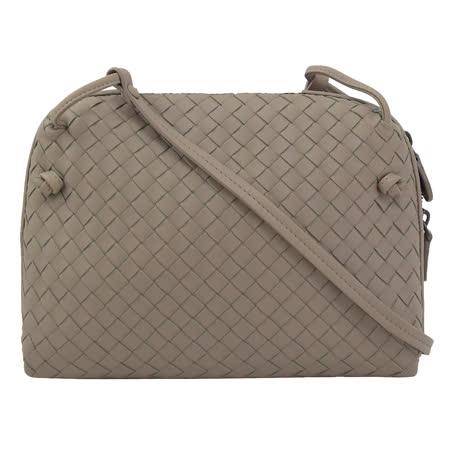 BOTTEGA VENETA 專櫃商品 245354 手工編織小羊皮斜背包.大象灰