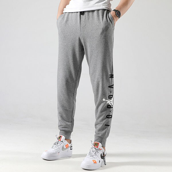 NIKE Air Jordan jumpman 文字 灰色 縮口 長褲 棉褲 男 (布魯克林) AA1455-091