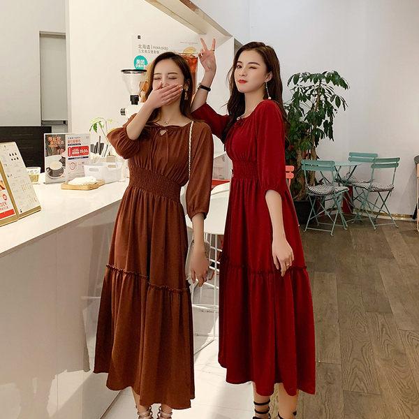 【GZ53】實拍~春夏新品純色高腰顯瘦大擺連身裙女閨蜜洋裝