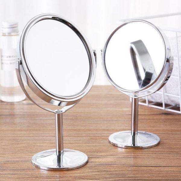 隨身化妝鏡 歐式雙面放大台式旋轉美容小鏡子 便攜隨身化妝鏡小號高清梳妝鏡 美物居家館
