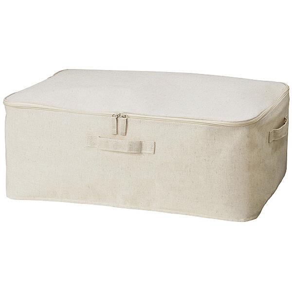 它是一種在布料內表面緊密摺疊的布盒。這是床下儲空間的理想尺寸。