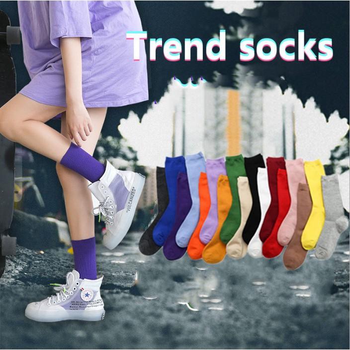 韓國新款堆堆襪 女士百搭棉襪 日系薄款純色堆堆襪 複古森系短靴襪套長筒襪子