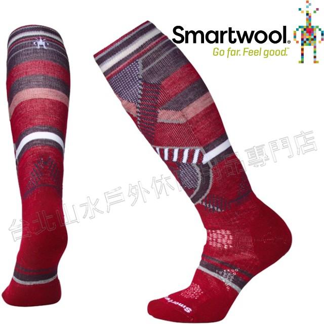 Smartwool羊毛襪/雪襪/保暖襪/美麗諾羊毛/ 女款PhD滑雪中級減震印花高筒襪 SW001002 A25 酒紅