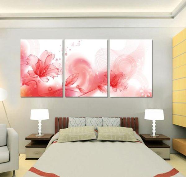 熱賣花卉三聯畫客廳裝飾畫時尚無框畫板畫版畫墻畫掛畫壁畫 抽象