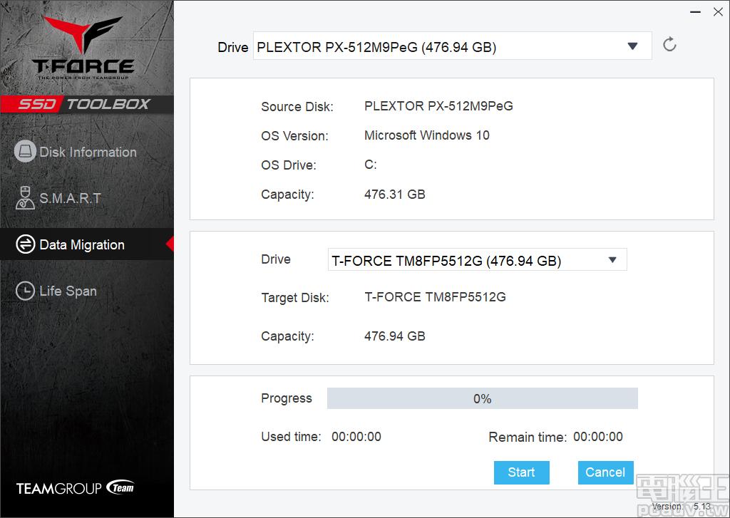 ▲ Data Migration 負責資料轉移,選擇來源磁碟與 Cardea II M.2 PCIe SSD,按下 Start 即可啟用作業。