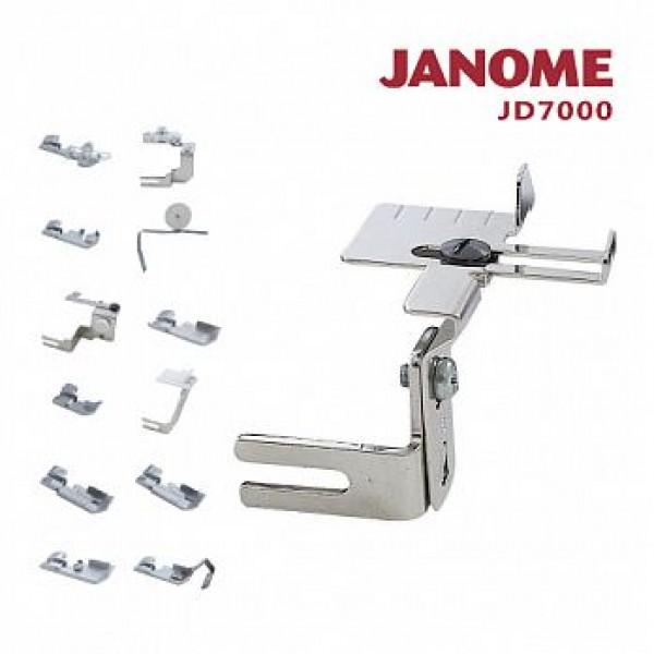 日本車樂美拷克機功能壓布腳組合 JANOME JD7000 ~適用於644D、889D機種 ~ 日本品牌 台灣在地製造 多樣壓布腳 輕易擴充拷克機使用機能 增加袖口裙子、鬆緊帶、導引車縫、加強縫等拷克