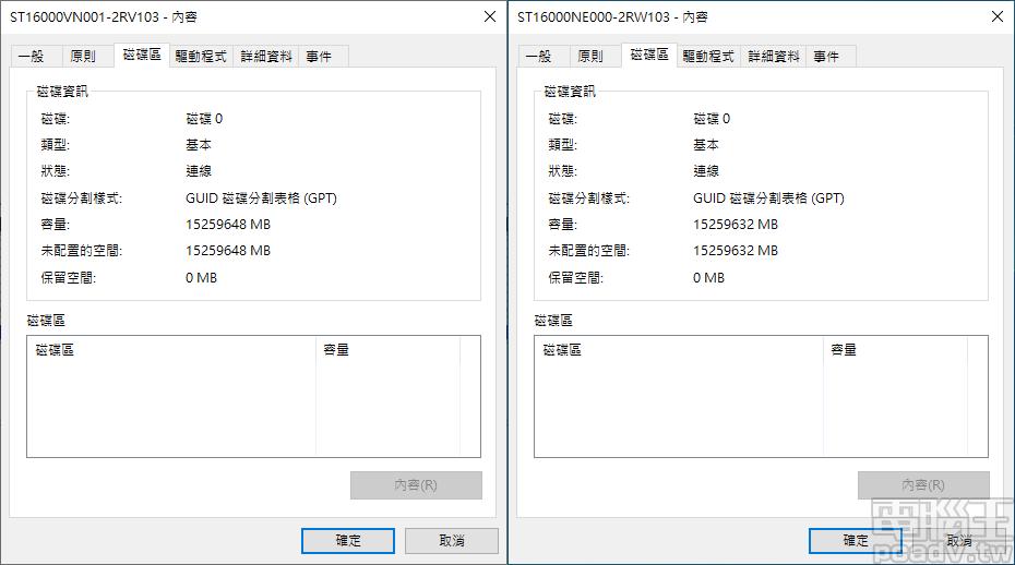 ▲ IronWolf 16TB 可用容量為 15259648MB/14.55TB,IronWolf Pro 16TB 則為 15259632MB/14.55TB。