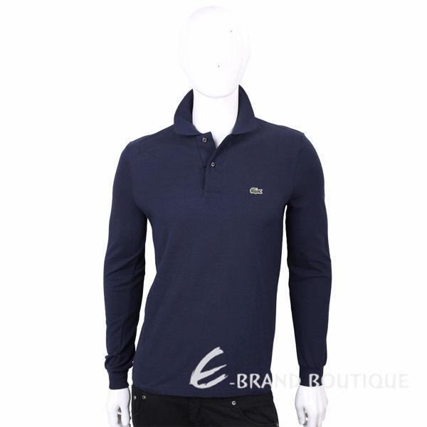 LACOSTE Classic Fit 純棉深藍色鱷魚標誌長袖POLO衫(男款) 1710734-34