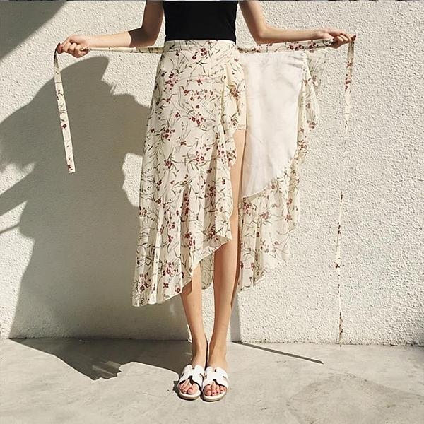 系帶一片式半身裙女夏季包臀裹裙不規則魚尾裙碎花雪紡沙灘裙長裙