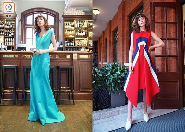 THE OUTNET今年踏入10周年,特別與多個國際名牌聯手打造10年限定系列,用矚目的新裝跟潮人慶祝一番。(左)Zac Posen湖水藍色晚裝裙、(右)Delpozo紅色配藍白間裝飾連身裙 (胡振文攝)