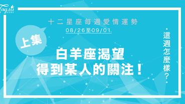【08/26-09/01】十二星座每週愛情運勢 (上集) ~ 白羊座渴望得到某人的關注!