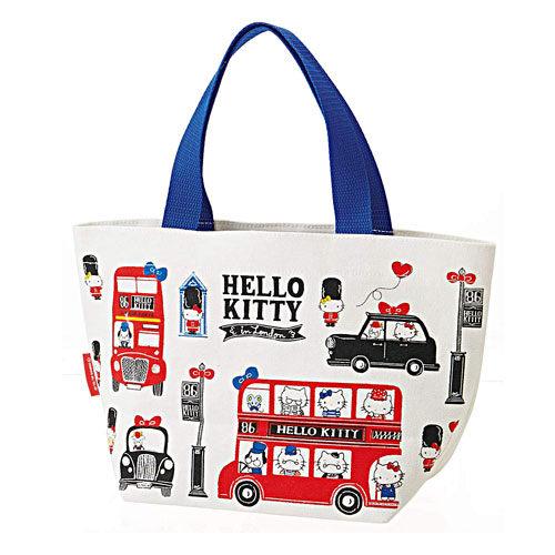 Sanrio HELLO KITTY帆布便當提袋(英倫家族)★funbox★SKATER_S44606