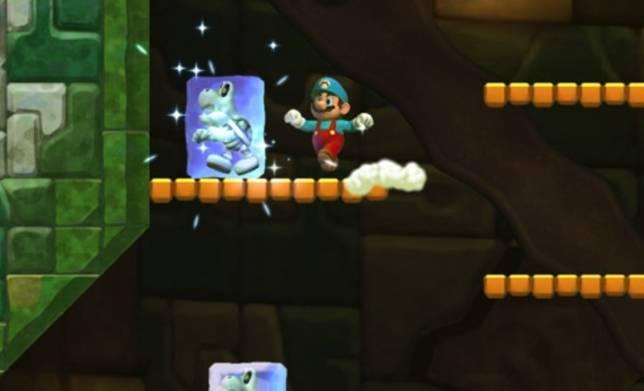 Mario吃了Ice Flower道具後,可以射擊骷髏骨頭士兵來將它結冰。(YouTube截圖)