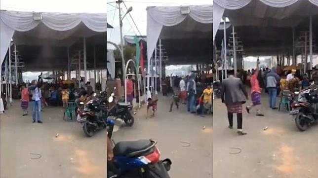Video viral tembak-tembakan di hajatan - (Twitter/@WagimanDeep)