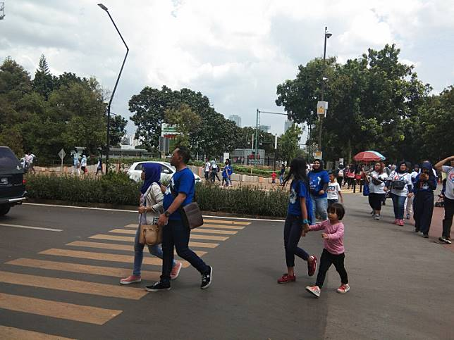 Pedestrians have to jaywalk as a road divider with plants of about 40 centimeters tall cuts across a zebra crossing near Gate 10 of the Gelora Bung Karno sports complex in Central Jakarta on Sunday. A similar situation can be found at three other zebra crossings in the complex.
