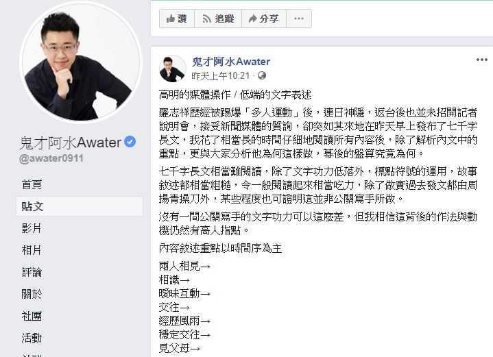 (圖/鬼才阿水Awater臉書)