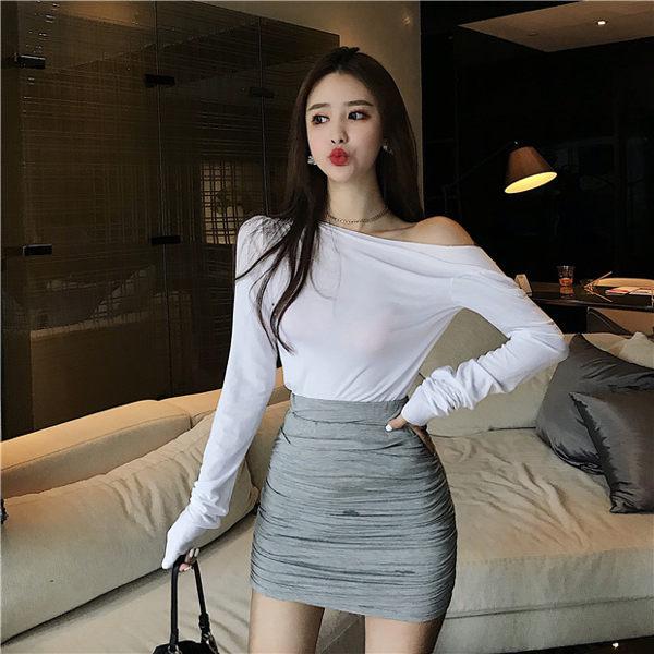 緊身短裙泡菜0o0o灰色高腰包臀裙防走光半身裙修身顯身材緊身雙層百搭短裙 愛麗絲