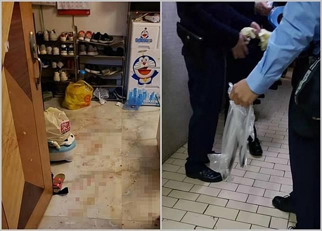 案發現場地面留有血漬(左圖);警員檢走涉案刀具(右圖)。
