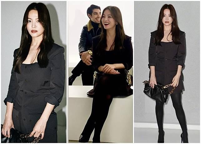 喬妹以一身全黑打扮現身米蘭時裝周,更微微晒心口。