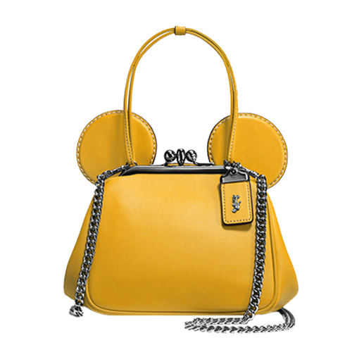 COACH 迪士尼聯名款單肩手提斜跨鏈條包-黃