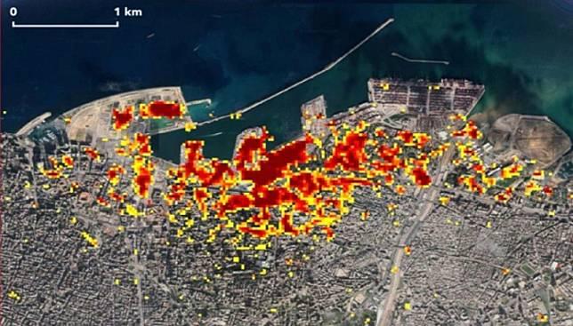 Dampak ledakan Beirut (Foto:  NASA/JPL-Caltech/Earth Observatory of Singapore/ESA)
