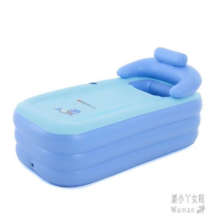 浴桶充氣浴缸家用成人熏蒸洗浴盆折疊塑料加厚大人冬天單人泡澡 JY9187【潘小丫女鞋】