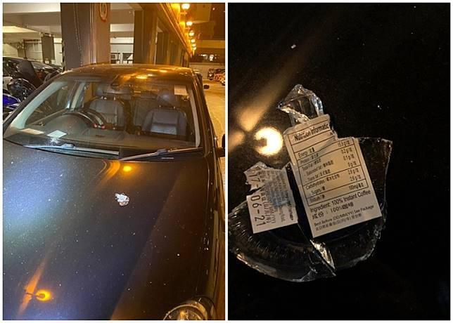 被掟中的私家車擋風玻璃碎裂。