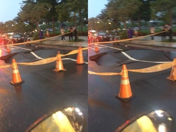 ▲大雨不斷!台南又傳路面塌陷,女騎士墜落「 5 公尺巨坑」。(圖/翻攝自台南諸事會社)