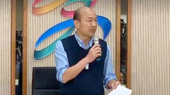 高雄市長韓國瑜23日發表聲明,強調「對於國民黨2020年總統大選,此時此刻,我無法參加現行制度的初選」。(圖 / NOWnews )