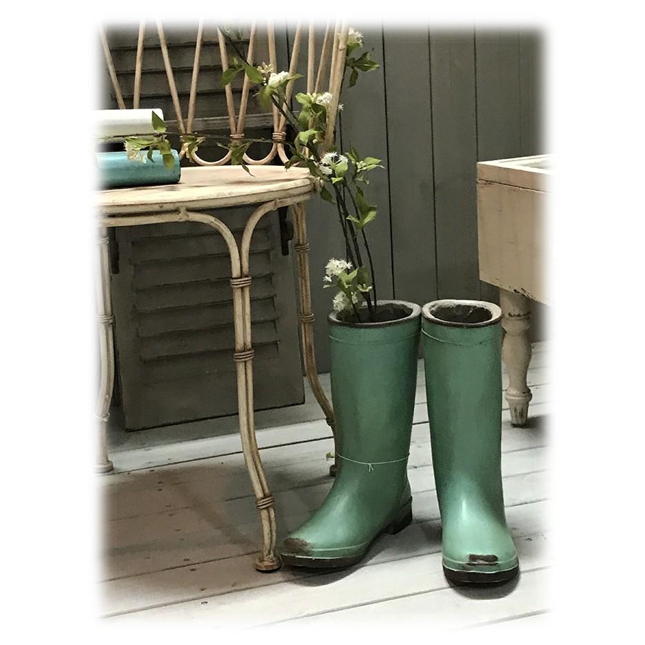 原單 復古做舊水泥筒靴花器 花筒 花園裝飾 擺件 拍攝道具二件入 尺寸20x24.5x28.5厘米