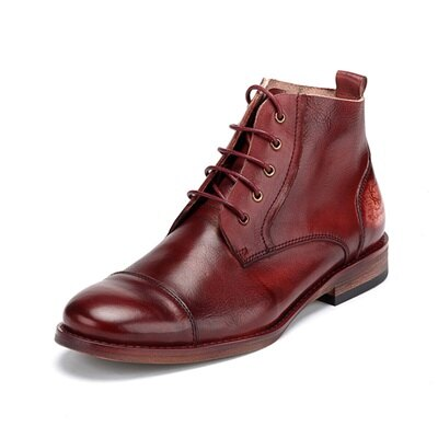 ★中筒靴真皮綁帶靴子-擦色做舊隨興復古男靴73kk9【獨家進口】【米蘭精品】